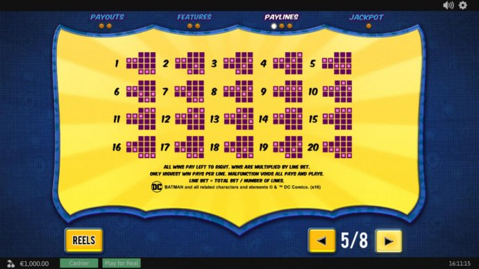 Payline Diagrams 1-20. All line wins pay left to right only. Wins are multiplied by line bet. Only highest win pays per line. by No Deposit Casino Guide