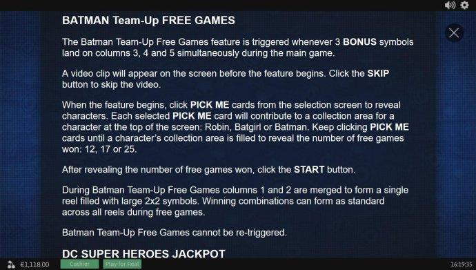 Batman Team-Up Free Games Rules - No Deposit Casino Guide