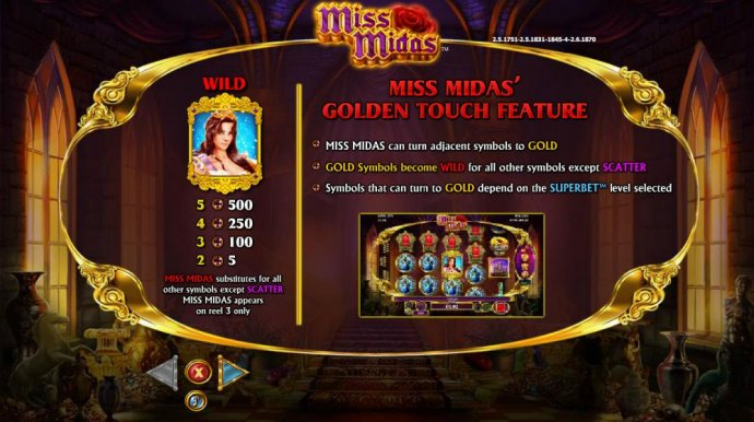 No Deposit Casino Guide - Wild symbol paytable and Golden Touch Feature Rules