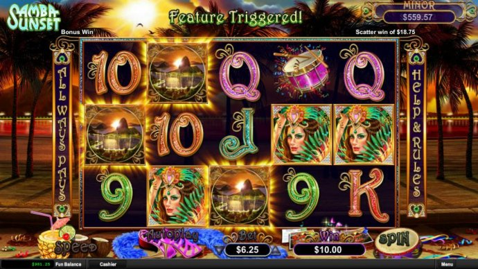 No Deposit Casino Guide - Three sunset scatter symbols triggers free game feature.
