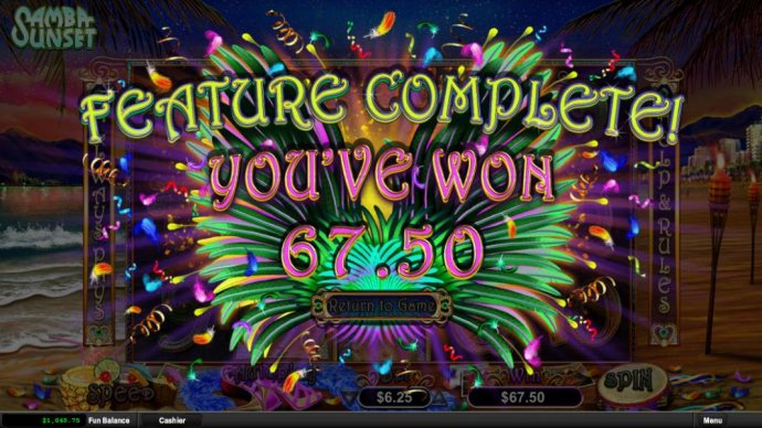 Feature Completed - You won 67.50 by No Deposit Casino Guide