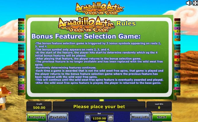 No Deposit Casino Guide image of Armadillo Artie Dash for Cash