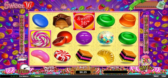 A candy themed main game board featuring five reels and 243 ways to win with a $312,500 max payout by No Deposit Casino Guide