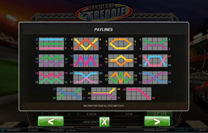 Payline Diagrams 1-30 by No Deposit Casino Guide