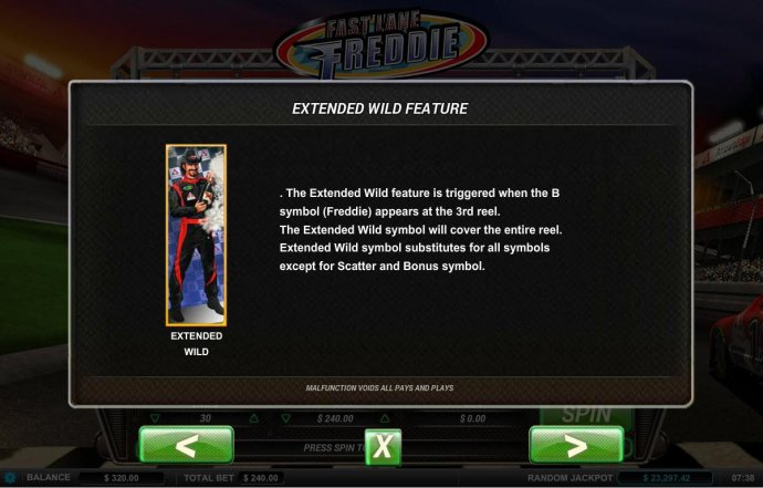 Extended Wild feature is triggered when the Bonus symbol (Freddie) appears on the 3rd reel. by No Deposit Casino Guide
