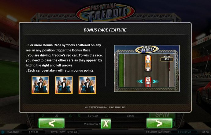 3 or more Bonus Race symbols scattered on any reel in any position trigger the bonus race. by No Deposit Casino Guide
