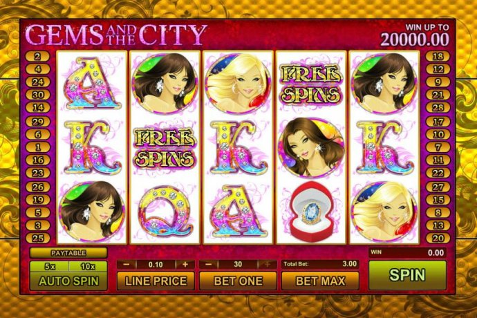 main game board featuring five reels and 25 paylines by No Deposit Casino Guide