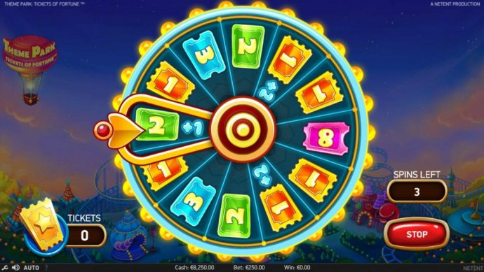 Stop the Theme Park Ticket Wheel to win as many tickets as possible for bonus game play. - No Deposit Casino Guide