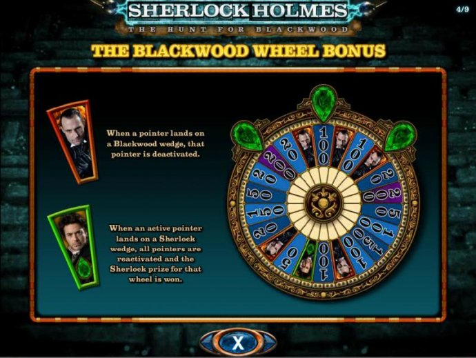 The Blackwood Wheel Bonus - When a pointer lands on a Blackwood wedge, that pointer is deactivated. When an active pointer lands on a Sherlock wedge, all pointers are reactivated and the Sherlock prize for that wheel is won. by No Deposit Casino Guide