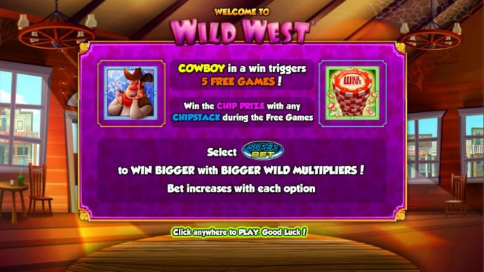 No Deposit Casino Guide - Cowboy in a win triggers five free games! Win the chip prize with any chipstack symbol during the free games. Select Super Bet to win bigger with bigger wild multipliers! Bet increases with each option.