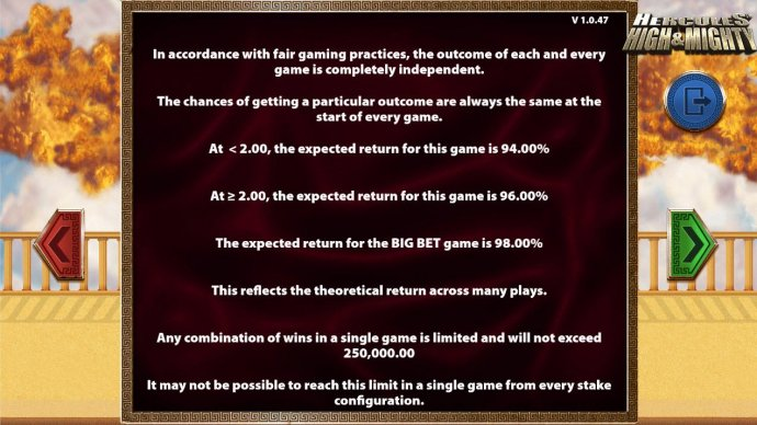 Payback Information - Theoretical return To Player is from 94.00% to 98.00%. The maximum win on any transaction is capped at 250,000. by No Deposit Casino Guide