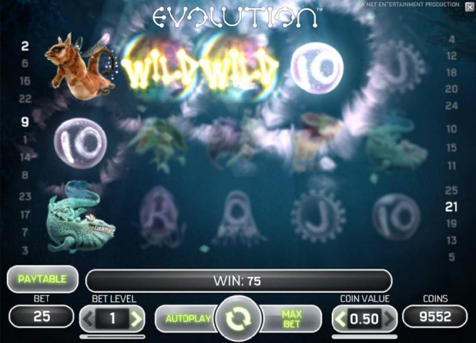wild symbols triggers multiple winning paylines for a 75 coin jackpot by No Deposit Casino Guide