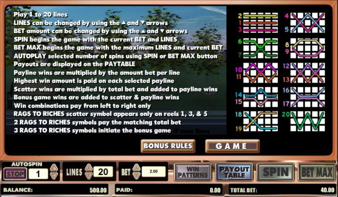 No Deposit Casino Guide - game rules and payline diagrams