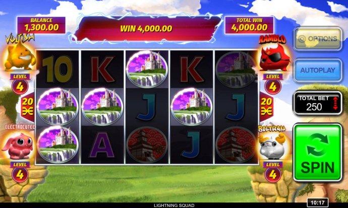 Castle symbols form multiple winning paylines triggering a 4,000.00 jackpot win - No Deposit Casino Guide