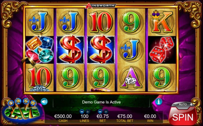 No Deposit Casino Guide - Main game board featuring five reels and 100 paylines with a $7,500 max payout.
