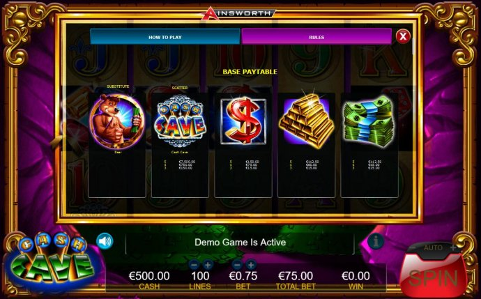 Slot game symbols base paytable. by No Deposit Casino Guide
