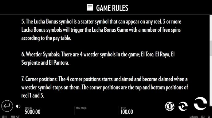 No Deposit Casino Guide - General Game Rules - Lucha Bonus, Wrestler Bonus and Corner Positions