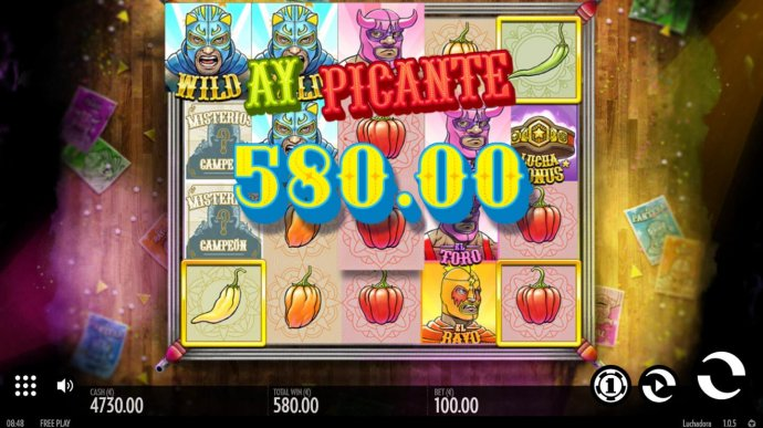 Multiple winning paylines triggers a 580.00 big win! - No Deposit Casino Guide