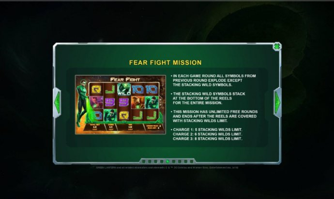 Fear Fight Mission - This mission has unlimited free rounds and ends after the reels are covered with stacking wilds limit. by No Deposit Casino Guide