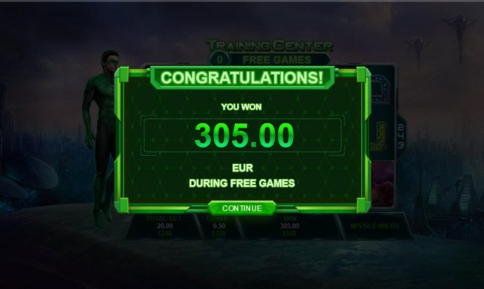 The Training Mission free games feature pays out a total of 305.00 - No Deposit Casino Guide