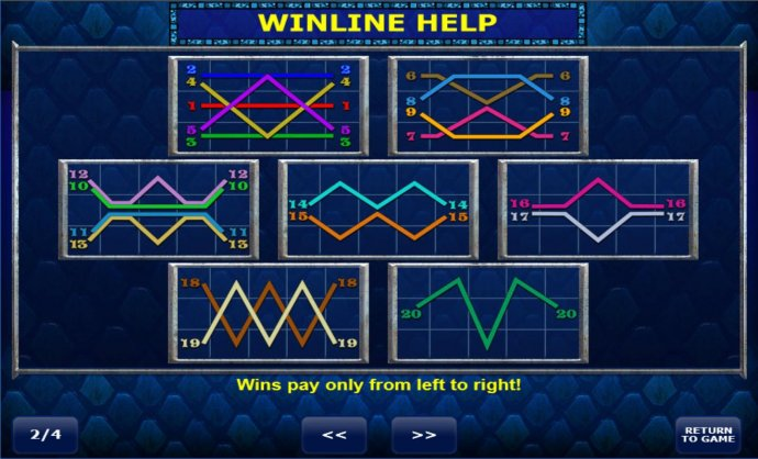 Payline Diagrams 1-20. Wins pay only from left to right. - No Deposit Casino Guide