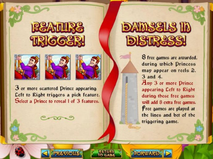 Feature Trigger rules and Damsels in Distress rules by No Deposit Casino Guide