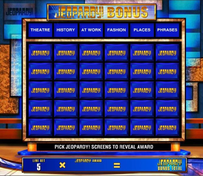 Bonus feature game board. Pick Jeopardy! screens to reveal award. by No Deposit Casino Guide