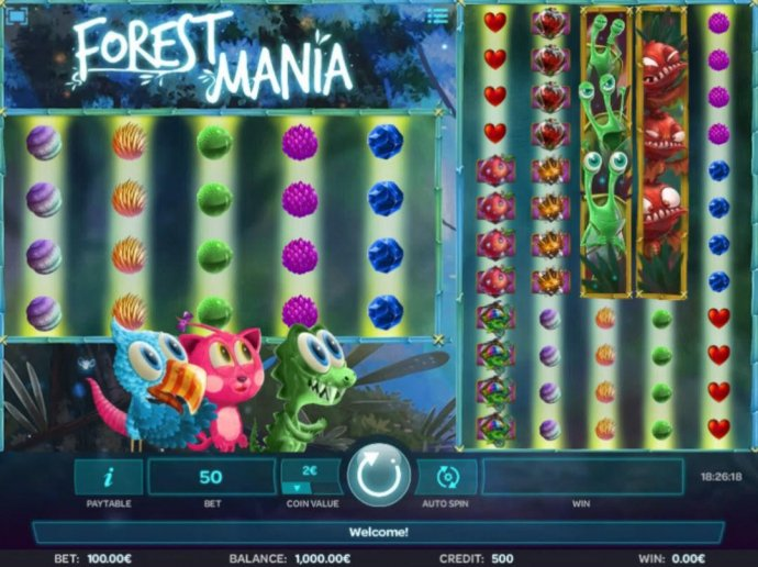 A woodland fairy fantasy themed main game board featuring five reels and 100 paylines with a $50,000 max payout. by No Deposit Casino Guide